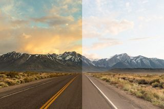 The effect of using Road Orange lenses on the left and the naked eye on the right