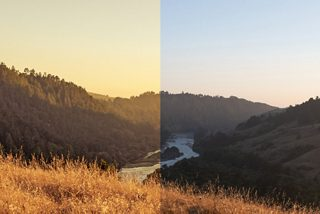 The effect of using Twilight Yellow lenses on the left and the naked eye on the right