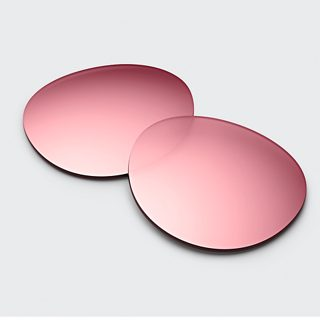 Mirrored Rose Gold Lenses and woman wearing Frames Rondo with Mirrored Rose Gold Lenses