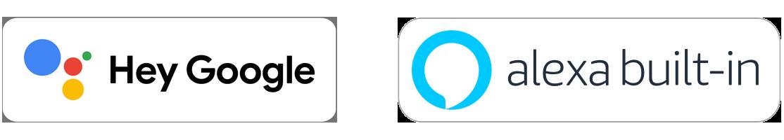 Badges de l'Assistant Google et d'Amazon Alexa