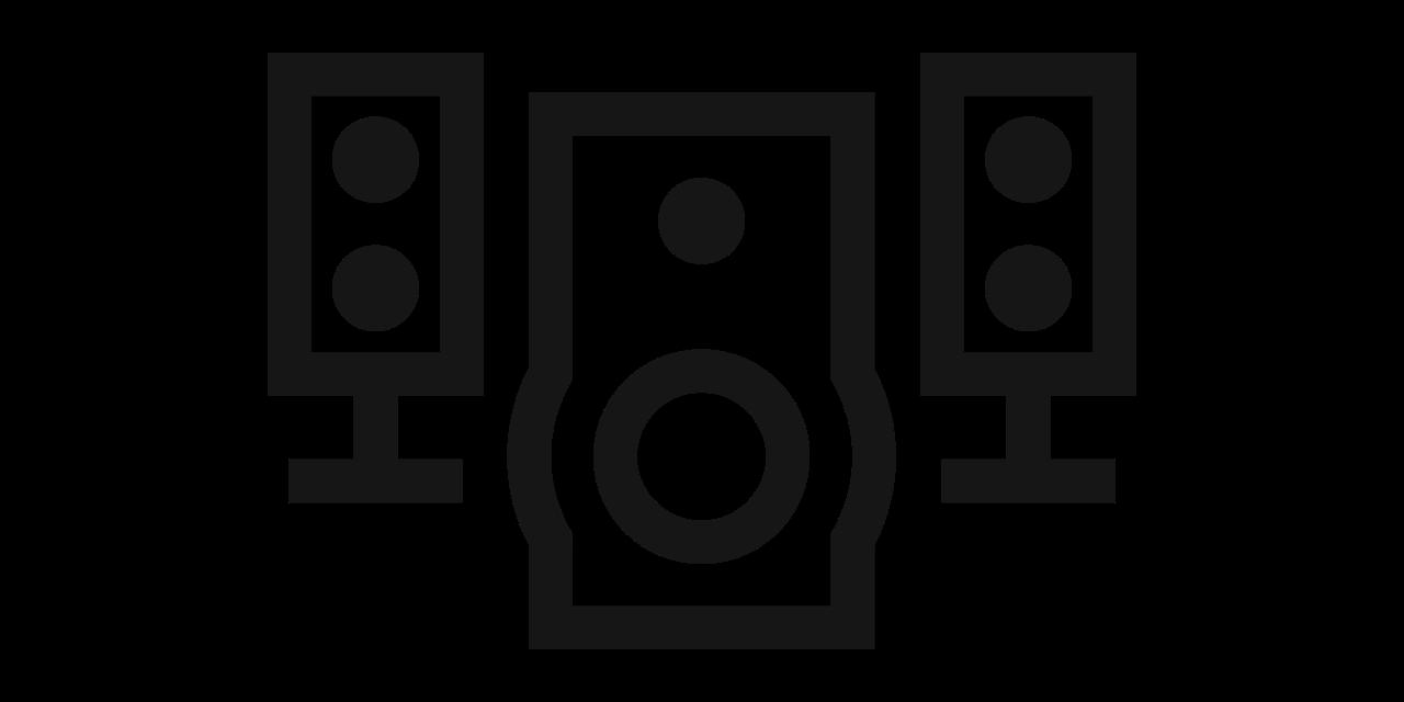 Icono de módulo de graves y altavoces