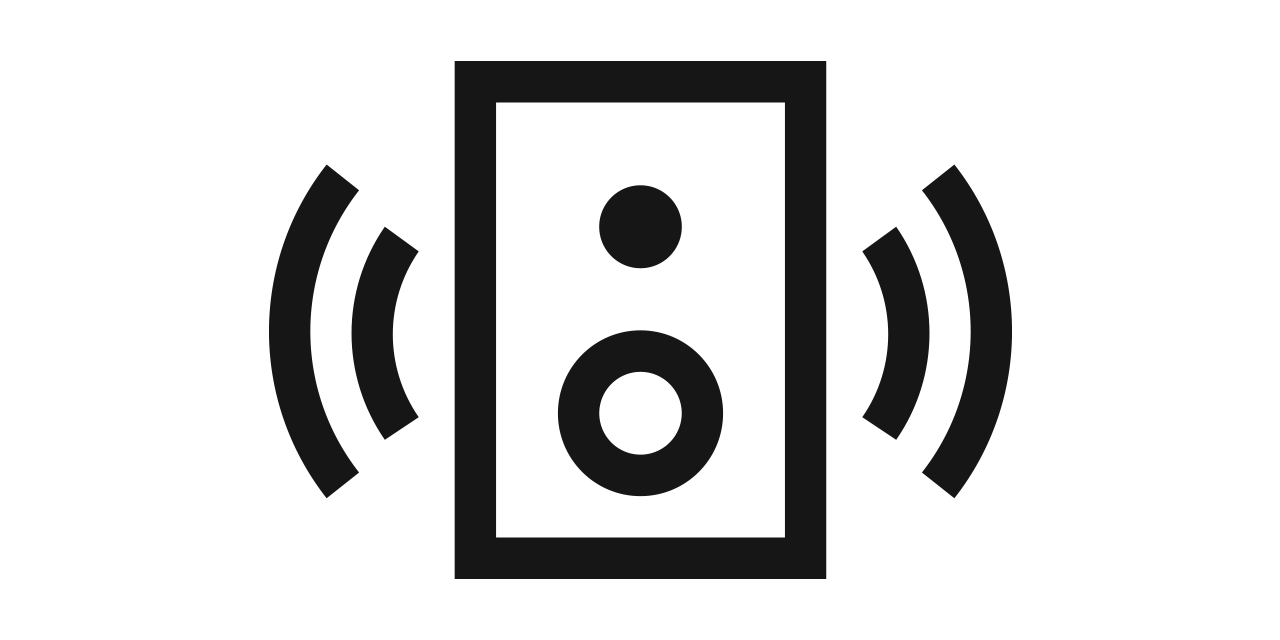 Icono de sonido estéreo de pared a pared