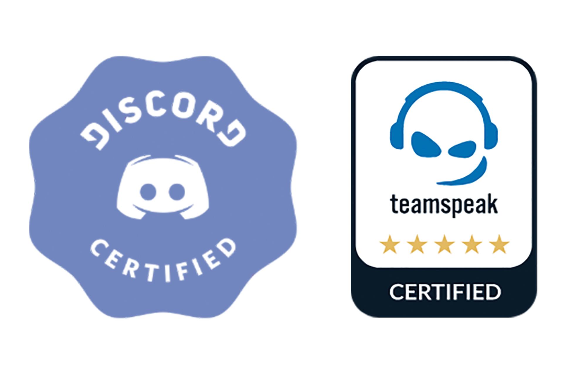 Discord Certified logo and TeamSpeak Certified logo