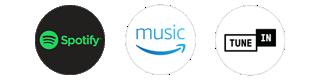 Spotify, Amazon Music, TuneIn