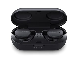 Triple Black Bose Sport Earbuds in the charging case