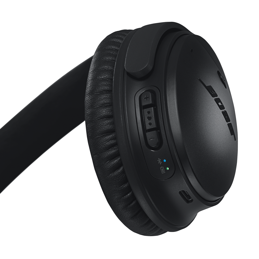 Back of right earcup showing multi-function button and battery and Bluetooth indicators