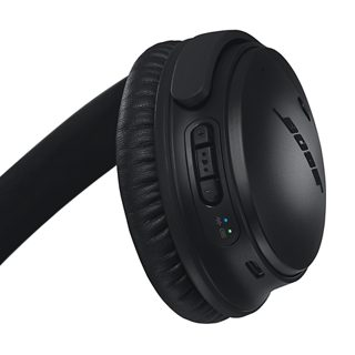 Back of right earcup showing multi-function buttons, and battery and Bluetooth indicators