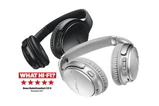 Black and silver QuietComfort 35 headphones