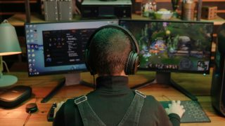 Woman wearing the QuietComfort 35 II Gaming Headset playing a video game