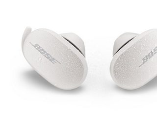 Water droplets on Soapstone Bose QuietComfort Earbuds