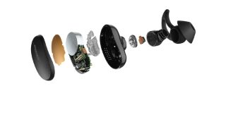 Exploded view showing the parts of a QuietComfort Earbud