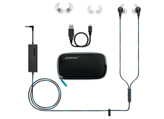 bose in ear noise cancelling headphones. noise cancelling on and off. the inline microphone/remote houses aware mode call answer/end buttons. 4-button remote, provides volume music bose in ear headphones n
