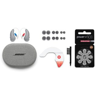 SoundControl™ Hearing Aids, Carrying Case, Open eartips in sizes 1, 2, 3, Closed eartips in sizes 1, 2, 3, Cable sizing tool, Batteries size 312 zinc-air, Hearing aid brush