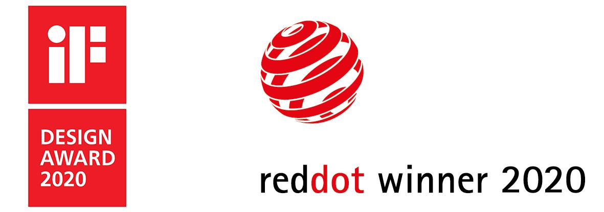 iF Design Award 2020 logo and Red Dot Winner 2020 logo