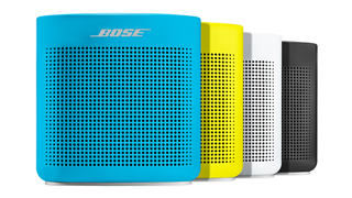 SoundLink Color II speaker shown in Aquatic Blue, Yellow Citron, Polar White, and Soft Black