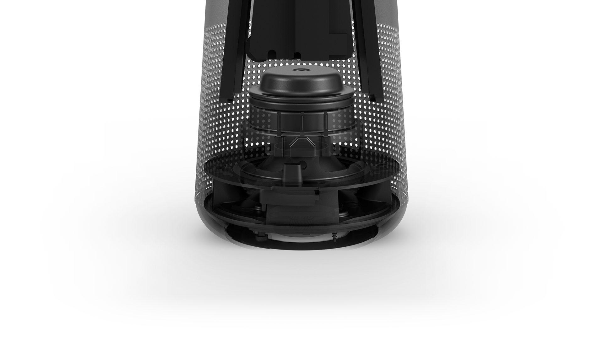 The inside of the SoundLink Revolve Bluetooth speaker