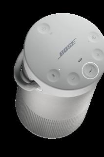 Botones en la parte superior del altavoz SoundLink Revolve+ II: encendido, modo de entrada, subir volumen, multifunción, bajar volumen y Bluetooth