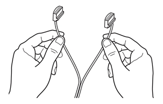 grasp the two connectors at the other end of the speaker cable and pull the  two strands of cable apart as much as necessary to reach each speaker