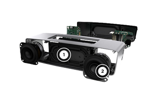 SoundLink Mini speaker interior showing dual passive radiators and high-efficiency drivers