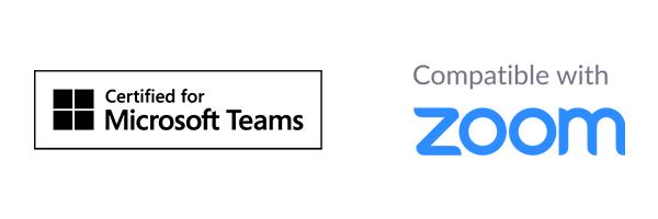 """Logotipos de """"Certificado para Microsoft Teams"""" y """"Compatible con Zoom"""""""