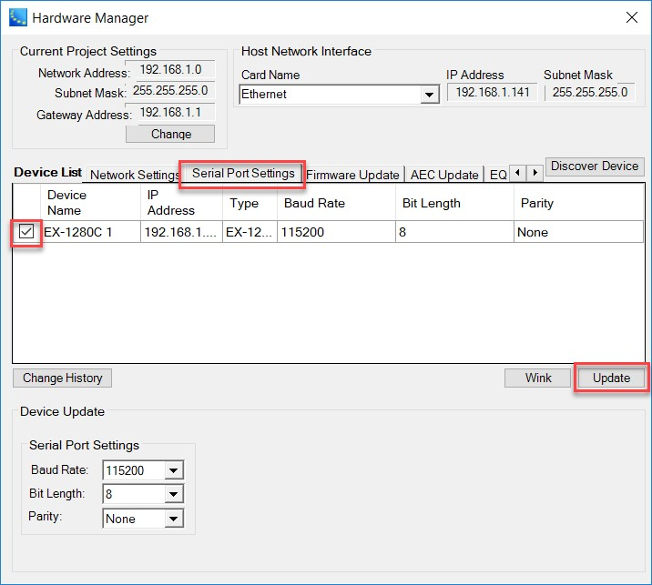 Hardware Manager – Serial Port Settings
